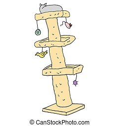cat tree with toys