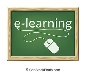 e-learning - An image of a chalk board with the word...