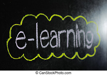 An image of a chalk board with the word e-learning