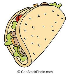chicken flatbread sandwich - An image of a chicken flatbread...