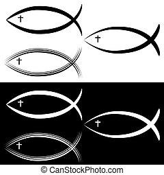 Christian Jesus Fish Symbol Set Black White