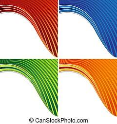 Curving Colorful Wave Banner Set