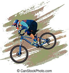 An image of a cyclist descending on a mountain bike on a slope