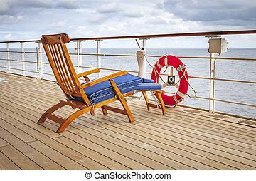 deck chair - An image of a deck chair on a cruise ship with...