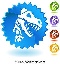 Dinosaur Fossil Bones Button - An image of a Dinosaur Fossil...