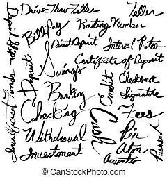 Financial Banking Calligraphy Text Set - An image of a ...