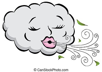 Girl Cloud Blowing Wind Cartoon