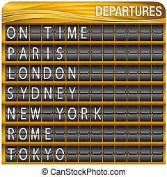 Gold Departures Travel Board - An image of a Gold Departures...