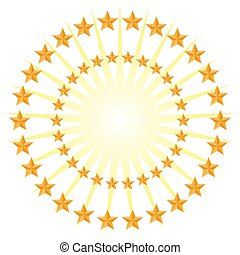 Gold Star Circle Pattern Energy Burst Isolated on White Background