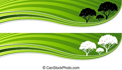 Tree Green Energy Wave Banner Set