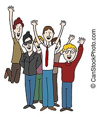 Happy Male Co-Workers Team Employees Cartoon - An image of a...