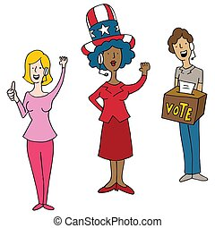 Headset Wearing Operators Election Day Voting Cartoon
