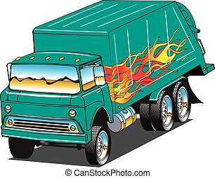garbage truck - An image of a hot rod garbage truck.