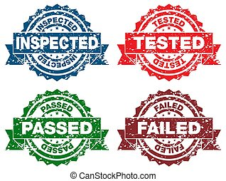 Inspected Tested Passed Failed Stamps - An image of a...