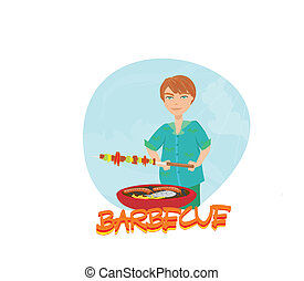 man cooking on his barbecue.