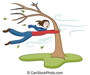Man Holding On To Tree on Windy Day