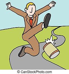 man kicking can down the road metaphor - An image of a man...