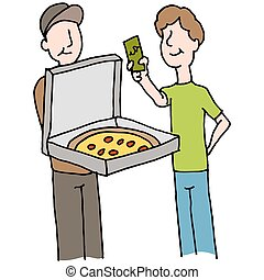 Man paying pizza delivery guy