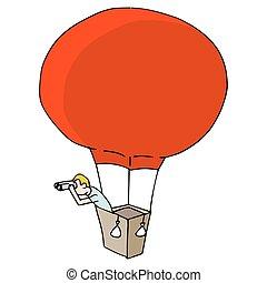 Man Searching with Binoculars in Hot Air Balloon