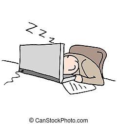 Man sleeping at his computer