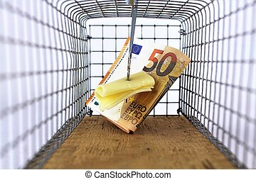 An image of a mousetrap with cheese and money