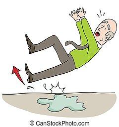 Old Elderly Senior Man Slipping on Wet Floor