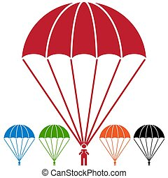 Paratrooper Parachute Skydiver Icon Set - An image of a...