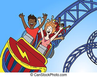 People Riding Amusement Park Roller coaster