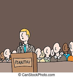 plaintive standing by jury in court - An image of a...