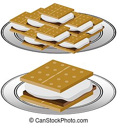Plate of Graham Cracker Smores - An image of a Plate of...