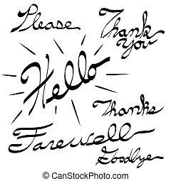 Please Thank You Hello Farewell Goodbye Calligraphy - An...