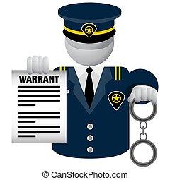 Police Officer Delivering Warrant Icon