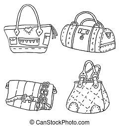 Purse Handbag Black White Drawing Set - An image of a Purse...