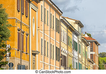 row of houses - An image of a row of houses in Pisa Italy