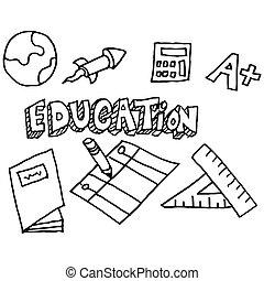school education doodle set