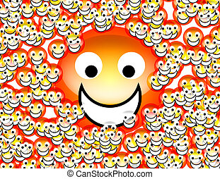 An image of a set of happy cartoon faces.