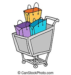 shopping cart with bags
