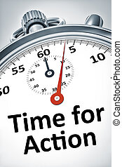 stopwatch with text time for action - An image of a...