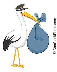 Stork Delivering Baby Bundle - An image of a Stork...