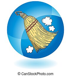 Sweeping Whisk Broom Round Blue Button Icon