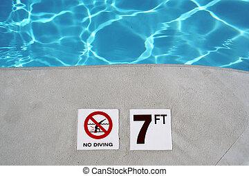 Swimming pool depth marke