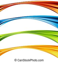 Swirling Vibrant Color Curve Wave Banner Set