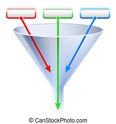 An image of a three stage funnel chart. - Raster version. An...