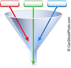 An image of a three stage funnel chart. Illustration on ...