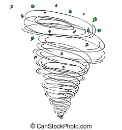 Tornado Leaves Drawing Isolated