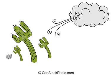 Windy Day cactus and Cloud Blowing Wind - An image of a...