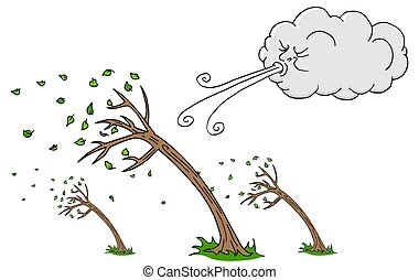 Windy Day Trees and Cloud Blowing Wind