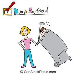 Woman Dumping Boyfriend Into the Trash