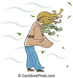Woman Walking Outside on a Windy Day Cartoon - An image of a...