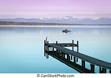wooden jetty - An image of a wooden jetty at the lake ...